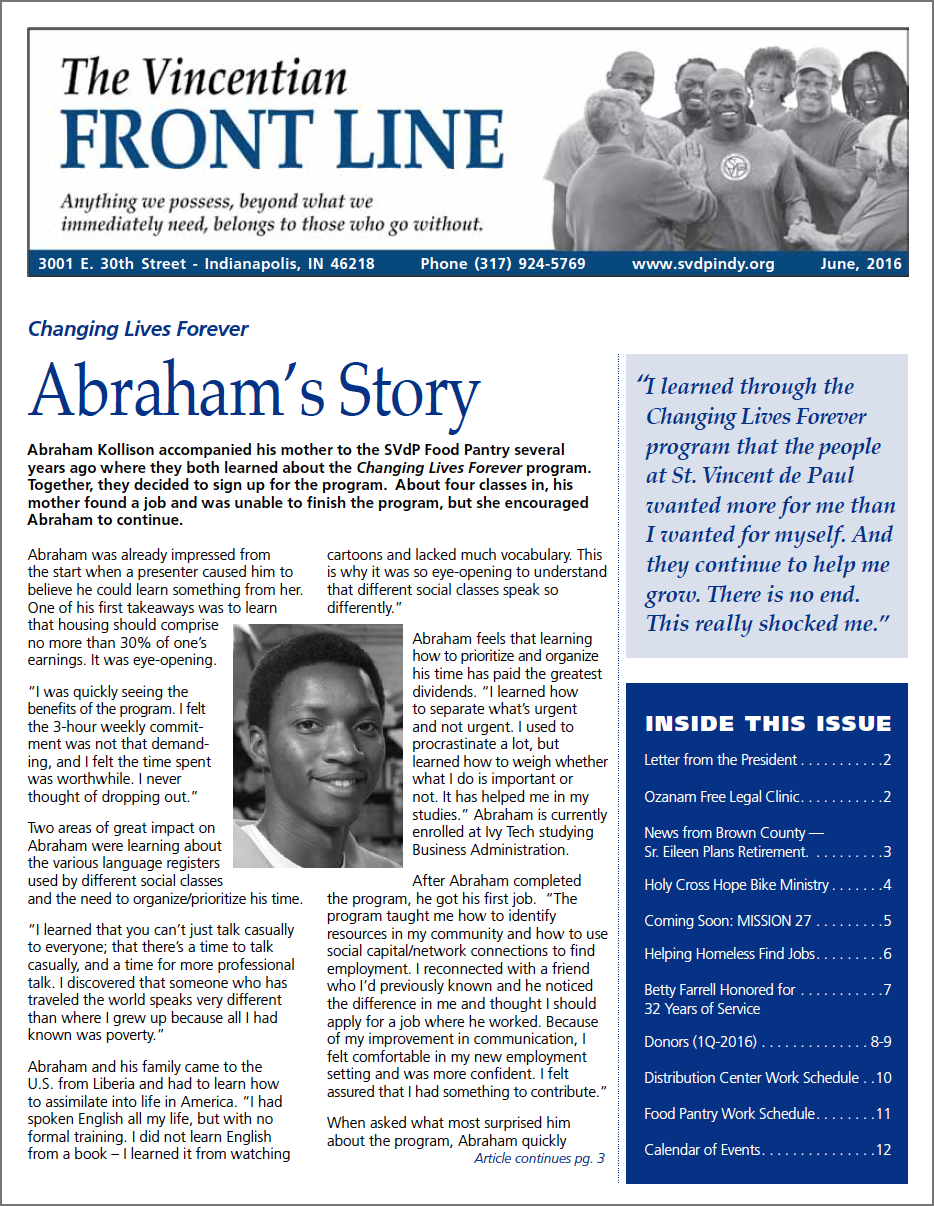 The Vincentian Front Line Quarterly Newsletter for June 2016
